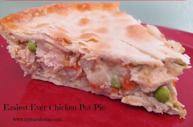 leftover chicken or turkey recipe, chicken and vegetables in a pie crust