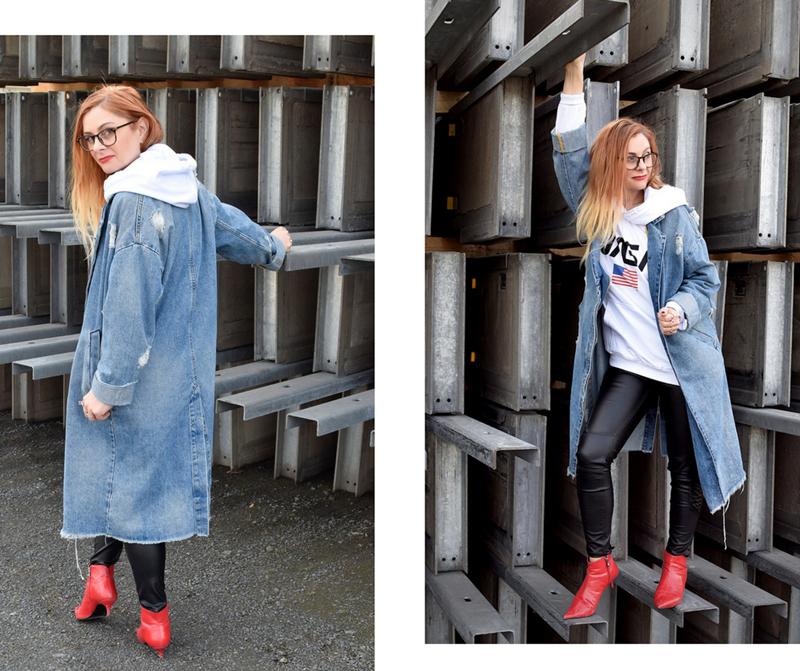 was passt zu einem Jeansmantel, wie style ich einen Jeansmantel
