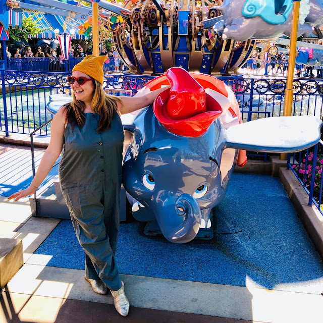 #BoundtoParkHop, Instagram photo challenge, clothing challenge, Disneyland, Disney bounding, Disney bounds, Jamie Allison Sanders, Favorite Park Ride, Dumbo, Asos jumpsuit, boilersuit, Asos beanie, Betty and Veronica heart sunglasses