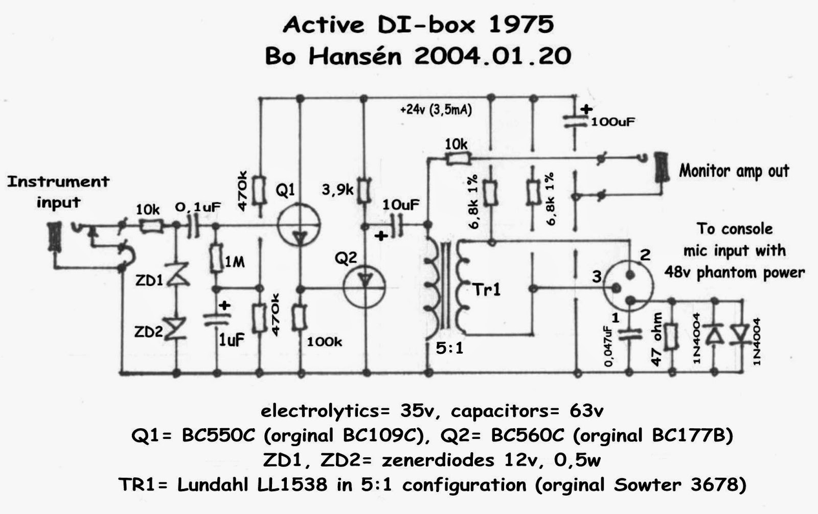 D I Y Pro Audio Diy Di Box Active Direct Injection At