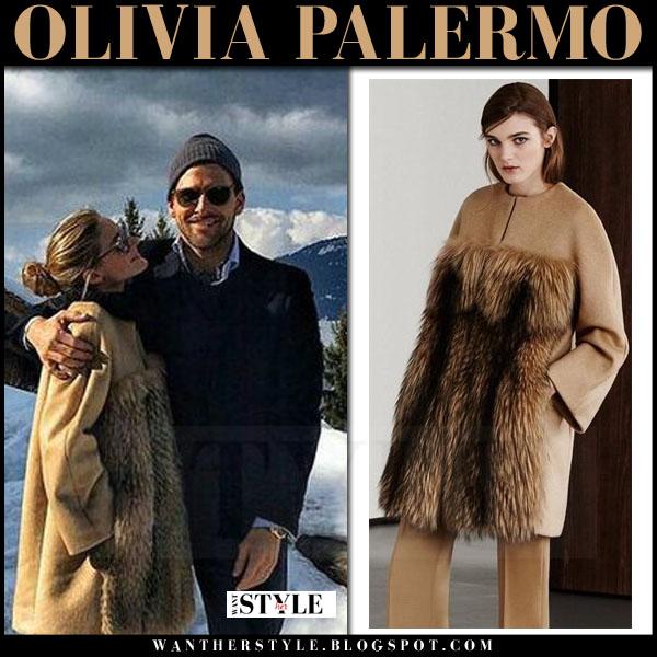 Olivia Palermo in camel fur coat max mara ski vacation 2016 what she wore