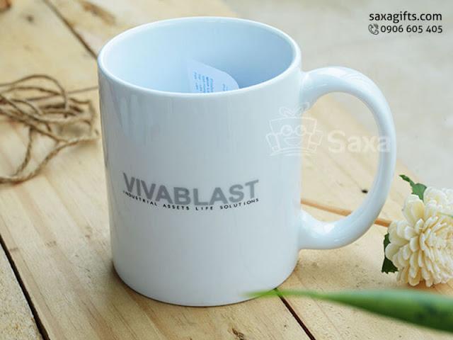 Ly sứ quà tặng in logo Vivablast của Minh Long – LS014