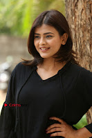 Actress Hebah Patel Stills in Black Mini Dress at Angel Movie Teaser Launch  0051.JPG
