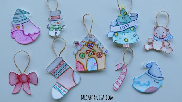adornos de navidad con papel. adornos kawaii para el árbol (Nica Bernita)