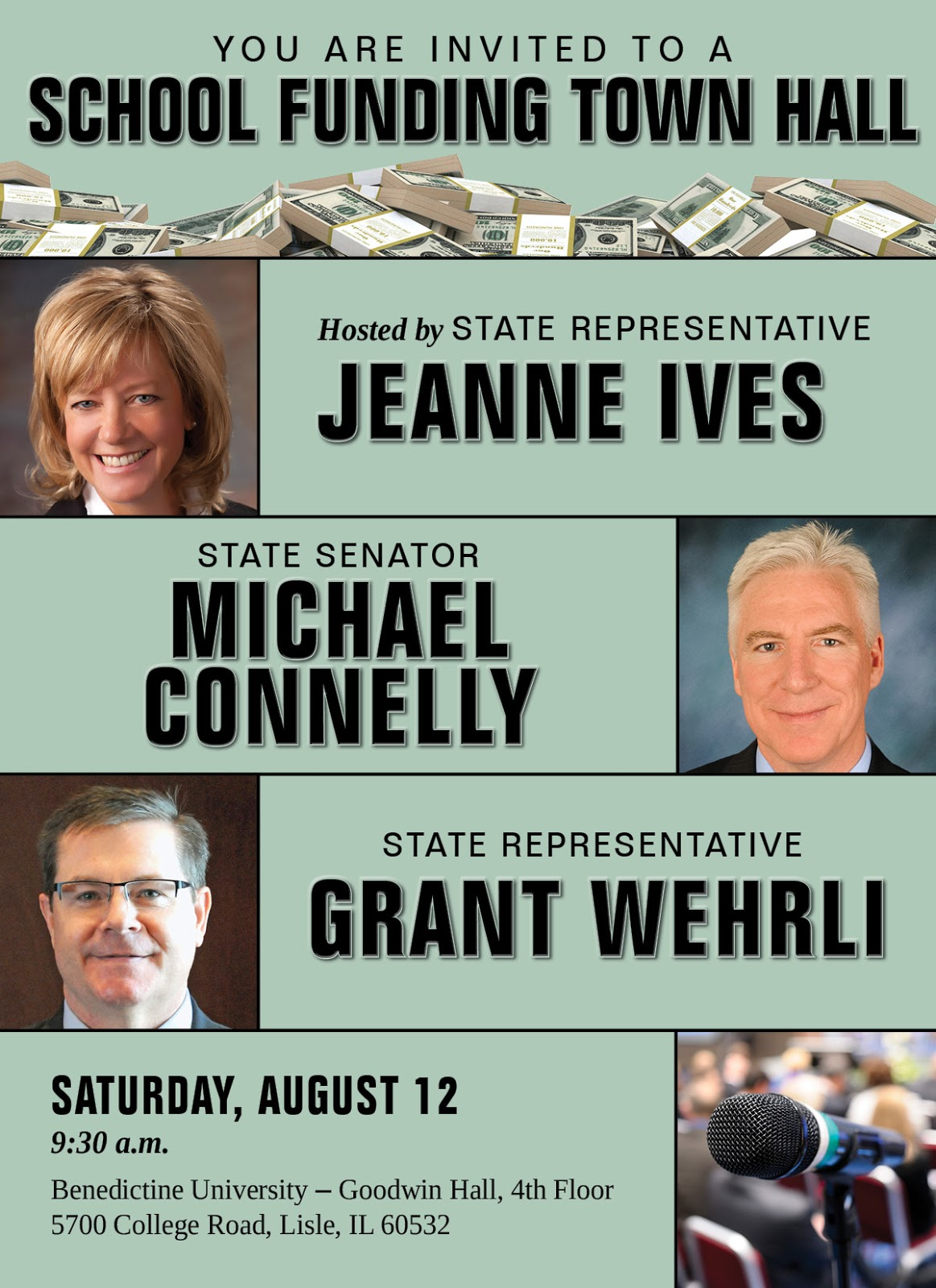ives r wheaton and grant wehrli r naperville along with state senator michael connelly r naperville will host a town hall meeting on the status of