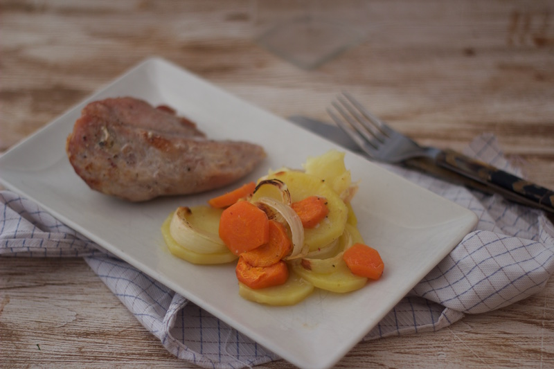 Solomillo de cerdo al horno con verduras