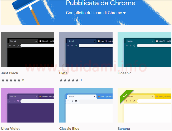 Pagina del Web Store Temi colorati per Chrome