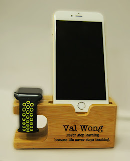 iPhone and iWatch Wooden Stand engraved with name and text