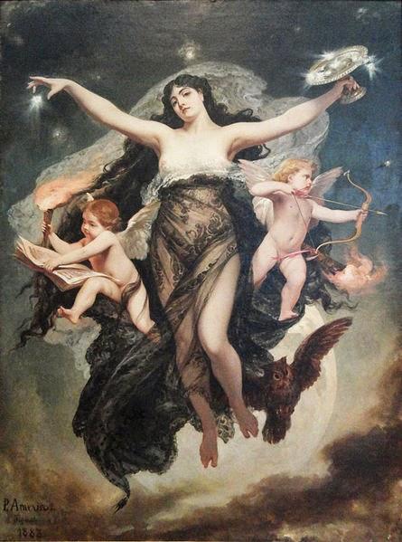 A Noite e os Gênios do Estudo e do Amor - Pedro Américo - Brasileiro