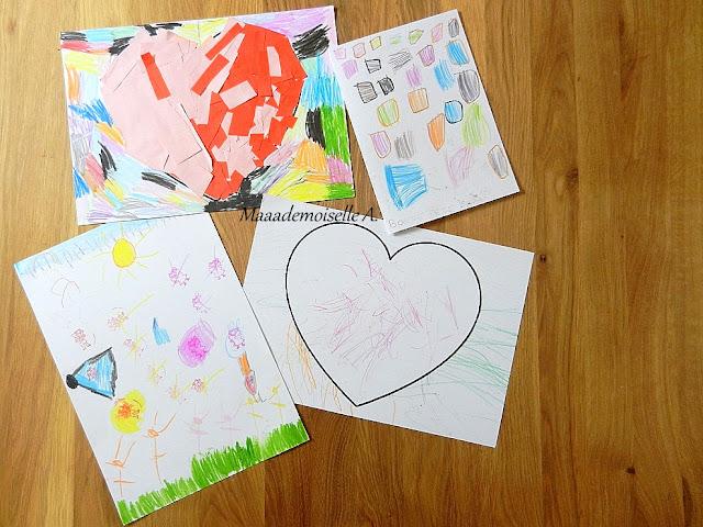 || Nos cadeaux pour la fête des pères ; Coeur en collage, coeur en coloriage, carte (ultra) colorée et un joli dessin !
