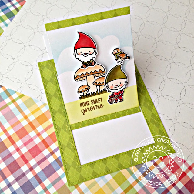 Sunny Studio Stamps: Home Sweet Gnome Sliding Window Die Home Sweet Home Card by Franci Vignoli