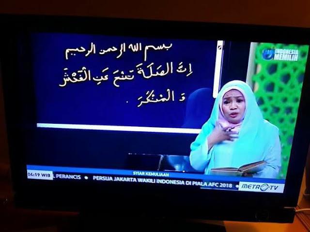 Ustadzah dan Metro TV Minta Maaf atas Kesalahan Penulisan Ayat Alquran