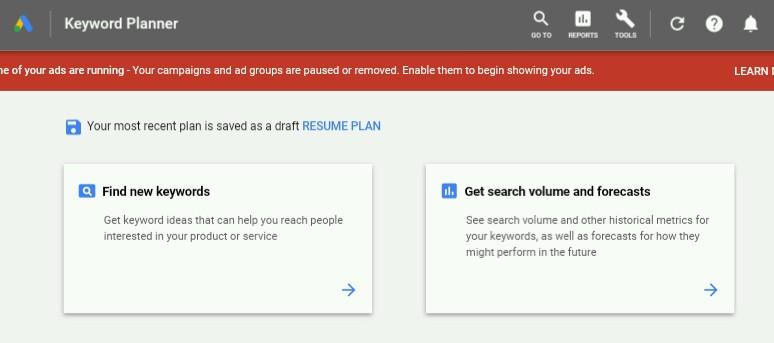 Google Keyword Planner Image