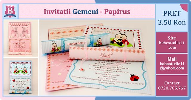 invitatii botez fara foto gemeni Papirus