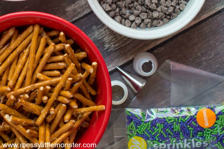 Halloween snack supplies for chocolate witches brooms