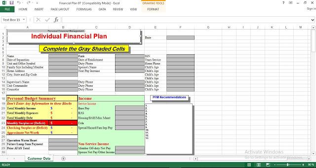 Personal Financial Management Plan Template