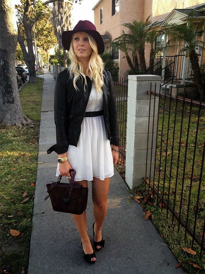 Leather jacket with hat and heels