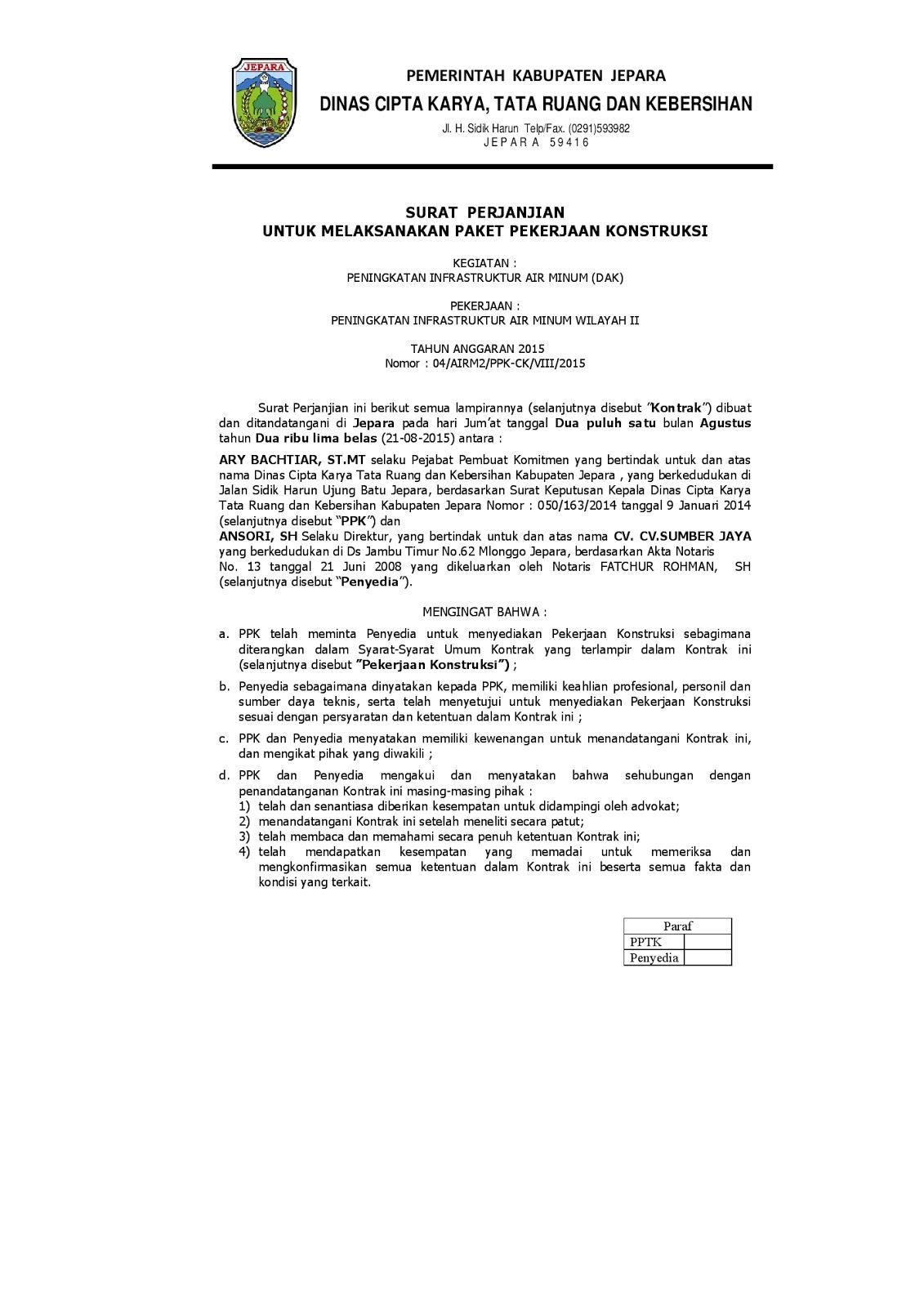 Contoh Surat Perjanjian Kontrak Kerja Konstruksi Amihead