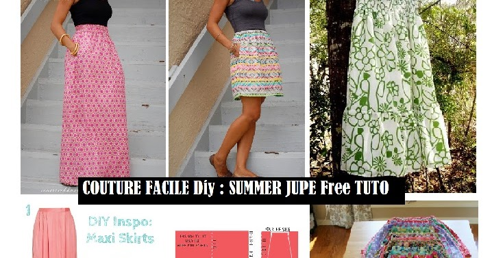 Couture facile diy summer jupe free tuto bettinael passion couture made in france - Patron couture jupe gratuit ...