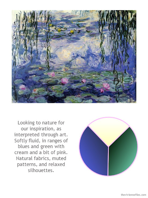 Water Lilies by Monet with style guidelines and color palette