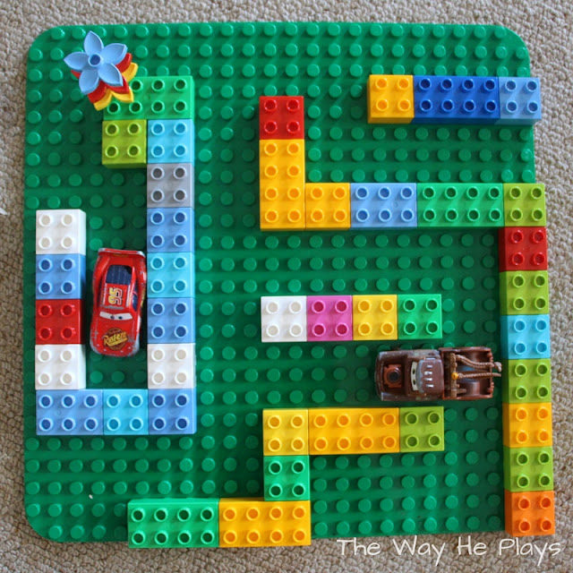 Overview of Duplo car maze