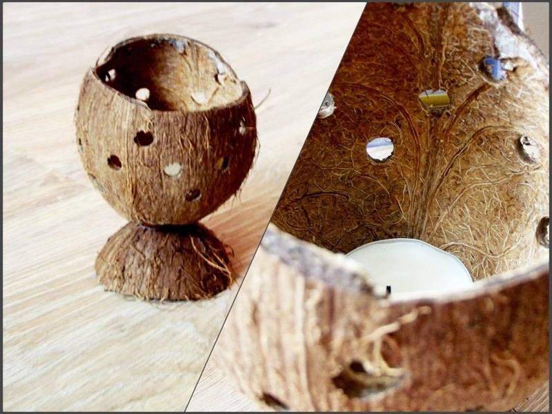 świecznik z kokosa