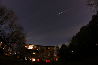 slightly enhanced image of the ISS flyover