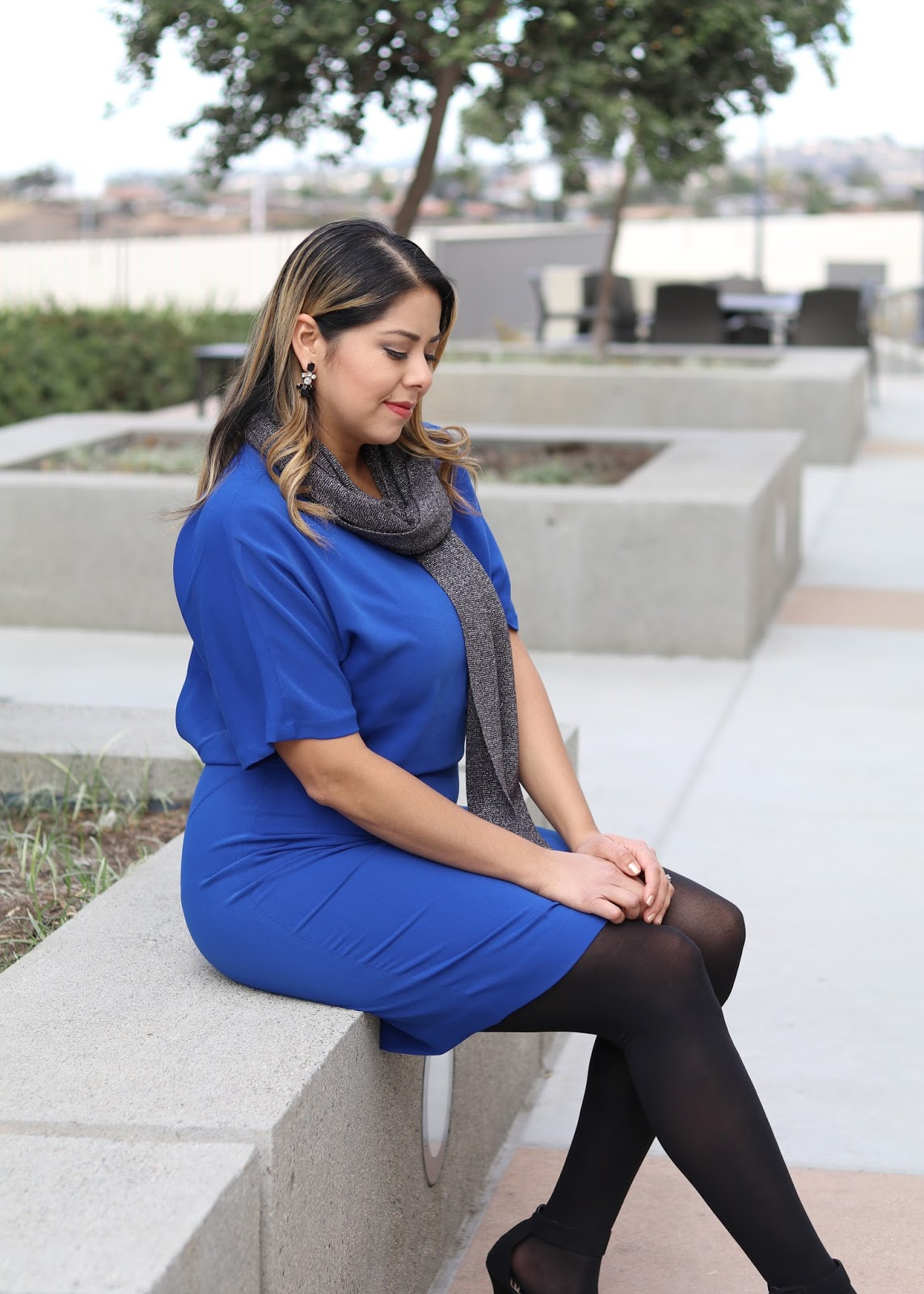 Outfit for the Office Holiday Party, Blue for the Holidays, Blue dress with black tights