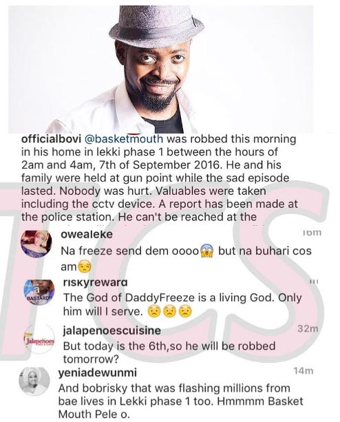 Why are some people dragging Freeze into Basketmouth's robbery incident?