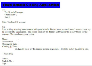 fixed deposit closing application