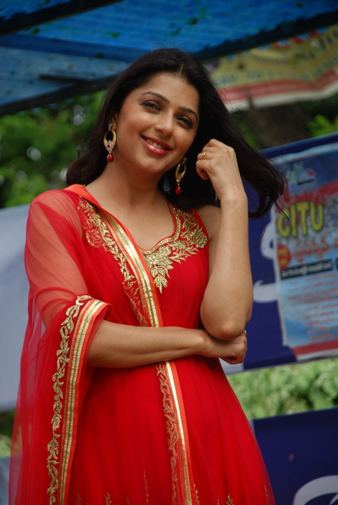 Bhoomika latest pics in red salwar