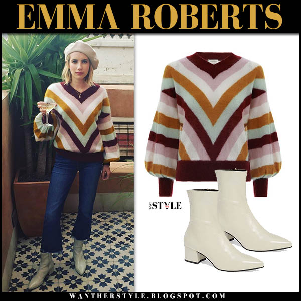 Emma Roberts in chevron knit zimmermann sweater and white vagabond ankle boots celebrity style november 23