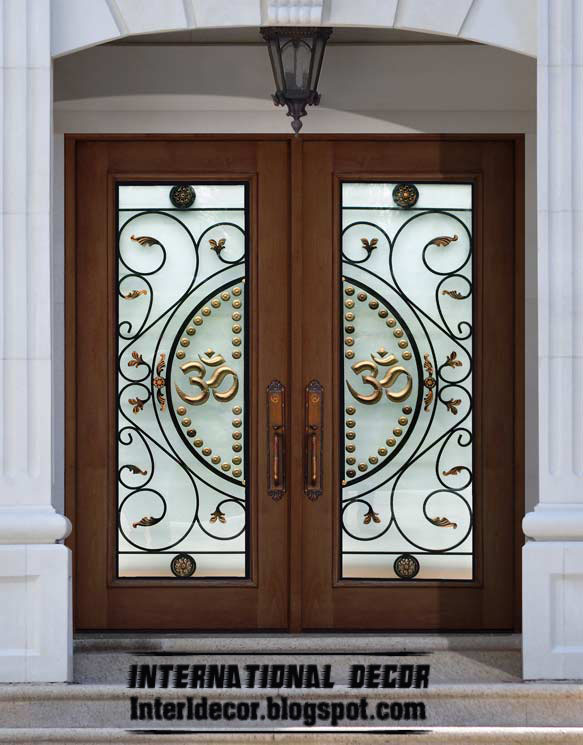 American wooden doors with stained glass designs ...