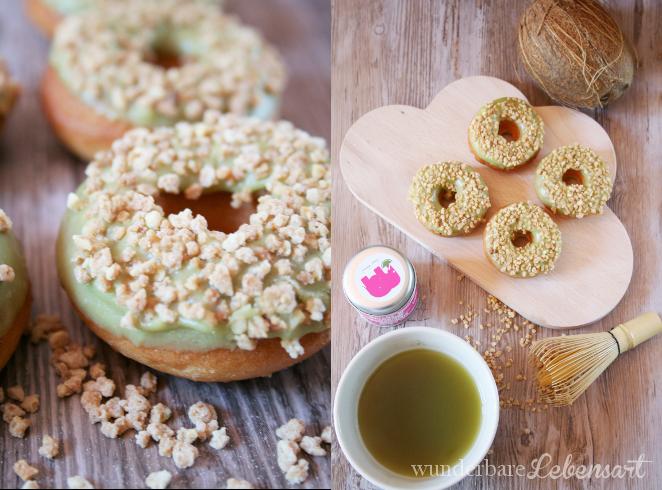Kokosnuss-Donuts mit Matcha-Tee-Toping