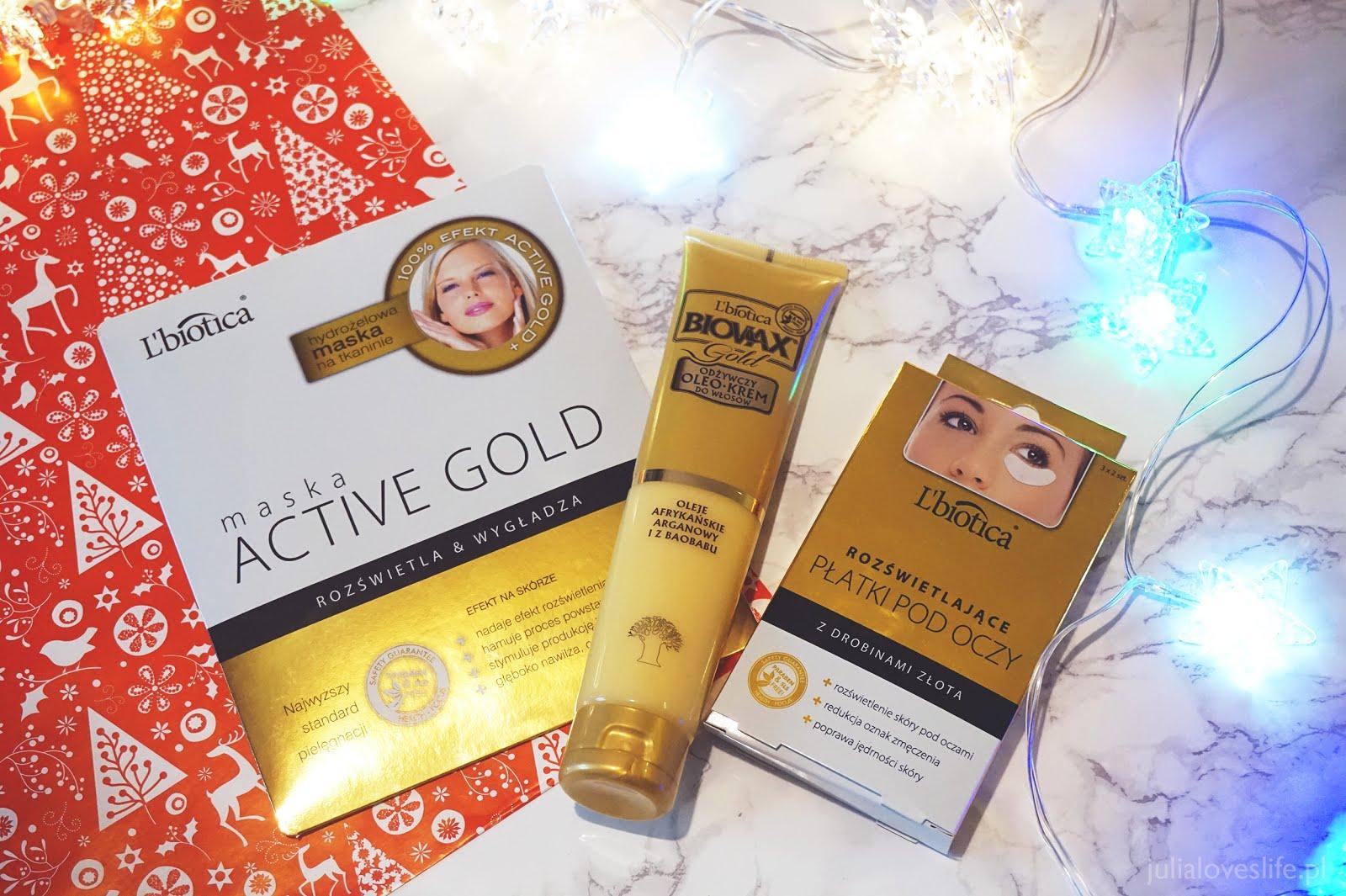 Zimowe Spa z produktami L'biotica | Seria Gold:  Biovax Gold, maska Active Gold, Dermomask Night Active, rozświetlające płatki pod oczy