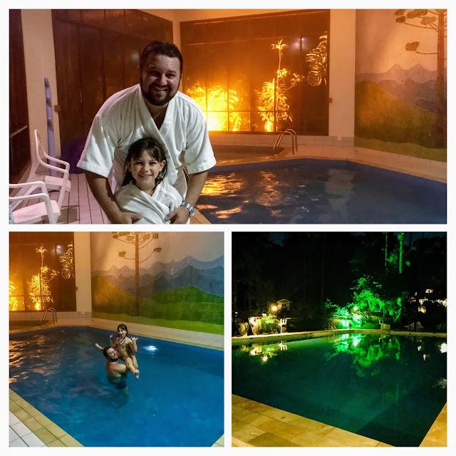 Piscina aquecida e a piscina externa (à noite fica tão linda quanto de dia)