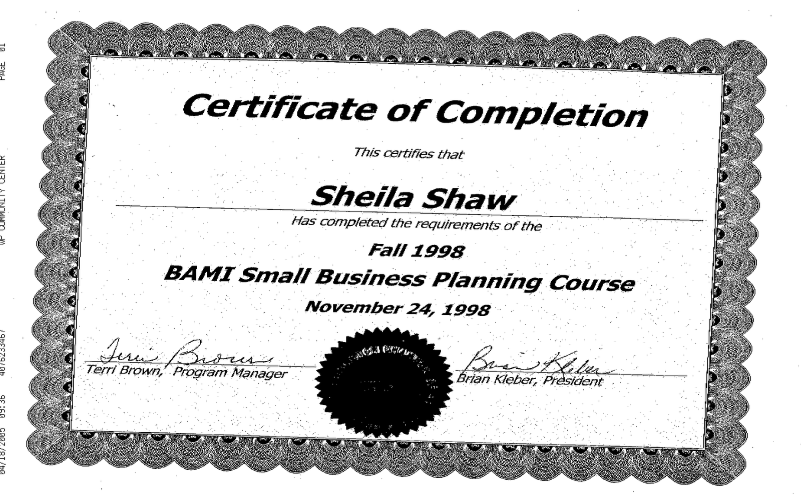 certification shaw certificate business administration dr resume pm posted