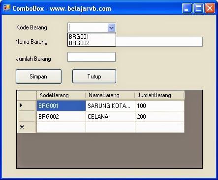 Belajar VB - Memunculkan KodeBarang Pada ComboBox