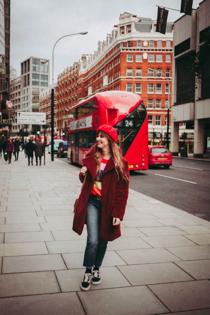 Travel: rainbow sweater in London