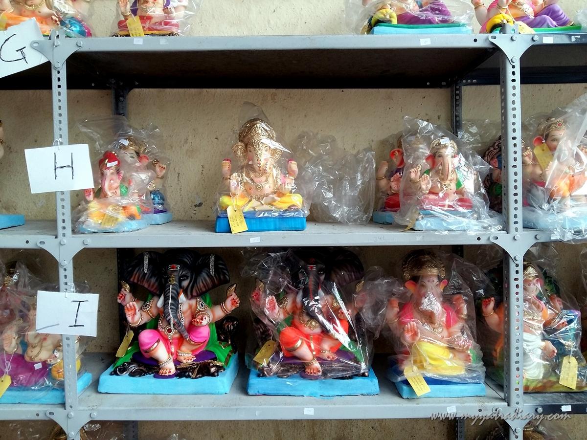 Eco friendly Ganeshas sitting in a workshop, Ganesh Chaturthi, Mumbai