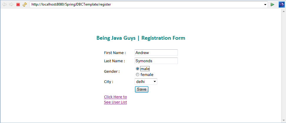 Spring JDBC Template with Spring MVC - Example Hello World Tutorial