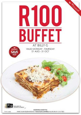 Billy G's R100 Budget-beating Buffet Till 31 Oct 2017 @MontecasinoZA #Jozi