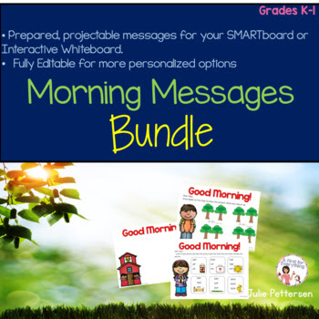 An entire school year's worth of morning messages (11 months: August-June) have already been prepared for you with adorable graphics, a morning greeting, and a review of academic skills. This editable, projectable year long bundle also enables you to type in your own morning messages to suit your needs too! Great for kindergarten and first grade (k, 1st grade, back to school)