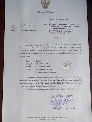Surat Permohonan Dukungan PLT. Bupati Subang Bpk. ATING RUSNATIM, SE