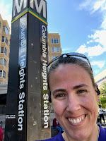 Selfie of me in front of the Columbia Heights Station sign