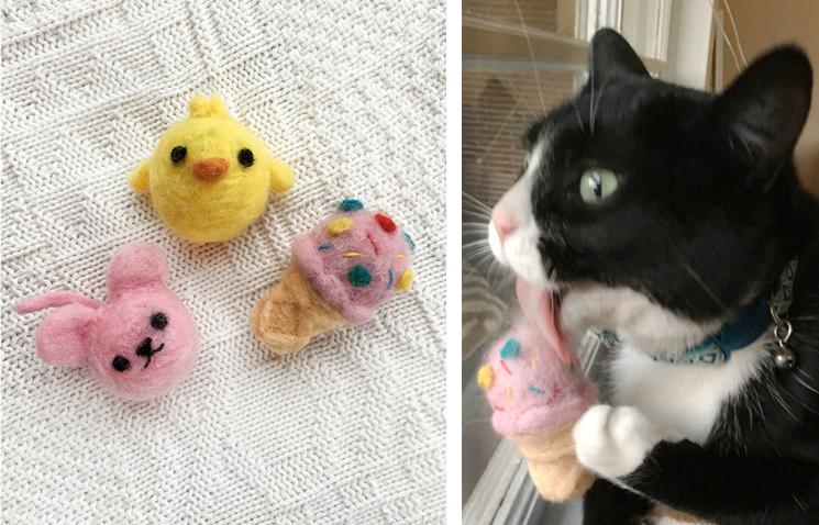 Collagepdx diy needlefelted cat toys for Felt cat toys diy