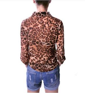 Blusa de gasa de manga larga con estampado tipo leopardo