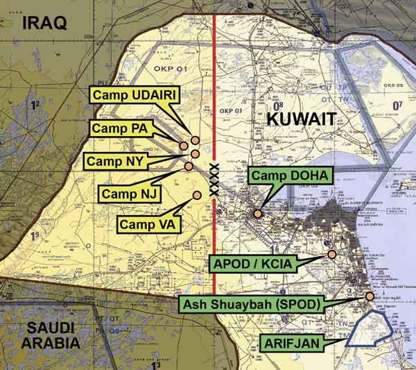 Οι αμερικανικές βάσεις στο Κουβέιτ τον Μάρτιο του 2003