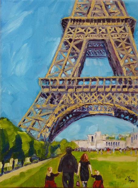 Karen 'angeac Mihm Paintings Eiffel Tower Commission