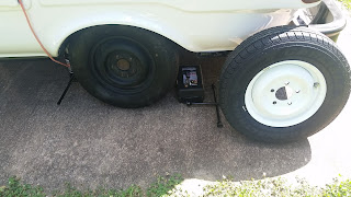 new and old wheels for our Uhaul CT-13 Fiberglass Camper